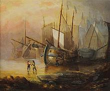 LIONEL PERCY SMYTHE, (British, 1839-1918), Harbor Scene, Oil on canvas, 16 x 19½ inches