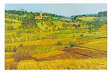 GEORGE MALVA AKA OMAR HAMDI, (Lebanese, born 1951), Landscape, Oil on canvas, 24 x 36 inches