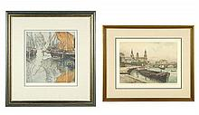 JOSEF EIDENBERGER, (Austrian, 1899-1991), Two European Cityscapes, Etchings, 14 x 13 1/4 inches  12 x 15 1/2 inches
