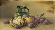 GEORGE McCONNELL, (American, 1852-1929), Still Life, 1908, Oil on wood board, 10 x 17½ inches