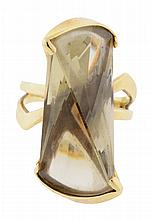 A 14K GOLD AND CITRINE ABSTRACT DESIGNER RING