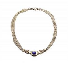 A TIFFANY & COMPANY STERLING SILVER, SILVER GILT, AND LAPIS LAZULI NECKLACE