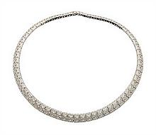 A LADY'S DESIGNER 14K WHITE GOLD AND DIAMOND NECKLACE