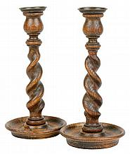 A PAIR OF ENGLISH TREEN CANDLESTICKS