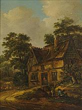 KLAES MOLENAER, (Dutch, 1630-1676), A Cottage with Peasants, Oil on panel, H 93¼ x W 8¾ inches.