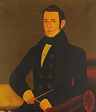 ANONYMOUS FOLK ARTIST, (American, 19th c.), Portrait of a Gentleman, Oil on canvas, H 28 x W 24¼ inches.