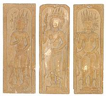 A SET OF THREE THAI STYLE FIGURAL RELIEF PANELS