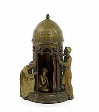 AN AUSTRIAN COLD PAINTED BRONZE FIGURAL LAMP, FRANZ BERGMAN