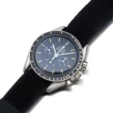 A Gentleman's stainless steel MIR Space StationÿSpeedmaster wristwatch, Omega, circa 1993. Manual. ÿ42mm. Ref: 145.0022. Cal.861. Case number 48294621. Number 19 of 28. ÿBlack dial, tritium baton numerals. Case, dial, and movement signed. Velcro flight strap. Original aluminium presentation case, warranty card, certificate, biro, book, and video.Notes:This important watch is part of a very limited edition release, one of thirty-five watches which spent twelve months aboard the Space St...