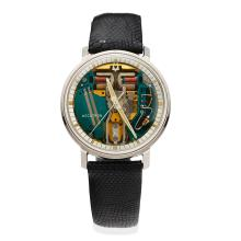 A Gentleman's stainless steel Accutron Spaceview wristwatch, Bulova, circa 1969. 34mm. Cal.214. Case number G23984 M. Skeleton dial. Glass, case back, black leather strap and buckle signed. Extra stainless steel strap and battery. Service Manual.ÿ