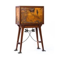 An Art Nouveau walnut and marquetry fall-front cabinet on stand signed Victor Masriera, Spanish, early 20th century