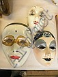 Three pottery hand-decorated Pierrot style masks