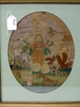 18th C Silk Needlework Picture