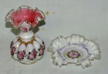 2 Pc. Lot Fenton-Charleton Peach Crest Vase