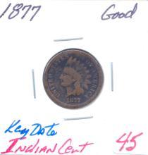 1877 Indian Cent Key Date.  Grade: Good