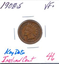 1908-S Indian Cent Key Date.   Grade: VF+