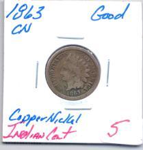 1863 Copper Nickel Indian Cent Grade - Good