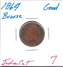 1864 Indian Cent Bronze Bronze -Grade - Good