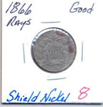 1866 Shield Nickel Rays - Grade - Good