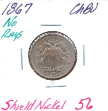 1867 Shield Nickel No Rays Grade: CHBU