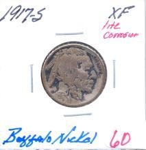 1917- S Buffalo Nickel lite Corrosion. Grade: XF