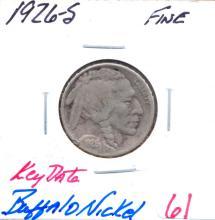 1926-S Buffalo Nickel Key Date. Grade: Fine