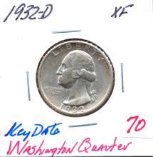 1932-D Washington Quarter Key Date.  Grade: XF