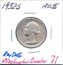 1932-S Washington Quarter Key Date.  Grade AU-55
