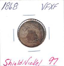 1868 Shield Nickel Grade: VF-XF