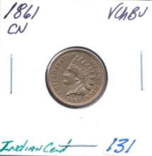 1861 Indian Cent CN  Grade:  VCHBU