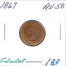 1867 Indian Cent Grade:  AU58