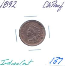 1892 Indian Cent Grade:  CH Proof