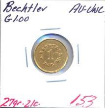 Bechtler Gold $1.00 Grade:  AU-UNC