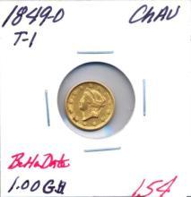 1849-O T-1 $1.00 Gold Coin Better Date.  Grade: CHAU