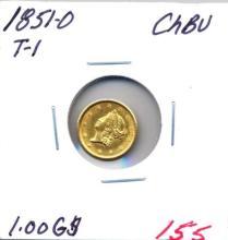 1851-O T-1  $1.00 Gold Coin Grade: CHBU