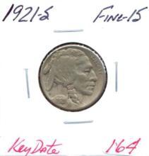 1921-S Buffalo Nickel Key Date.  Grade:  Fine-15