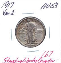 1917 Var 2 Standing Liberty Quarter Var. 2.  Grade: AU-53