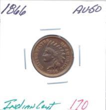 1866 Indian Cent Grade: AU-50