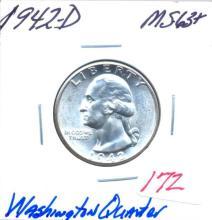 1942-D Washington Quarter Grade:  MS63+