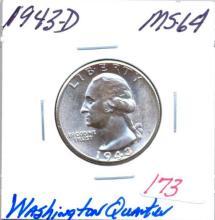 1943-D Washington Quarter Grade:  MS64
