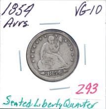 1854 Seated Liberty Quarter Arrows.  Grade:  VG-10