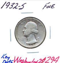 1932-S Washington Quarter Key Date.  Grade:  Fine