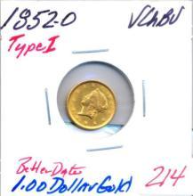 1852-O T-1  $1.00 Gold Coin Type 1  Better Date Grade: VCHBU