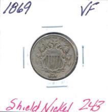 1869 Shield Nickel Grade:  VF