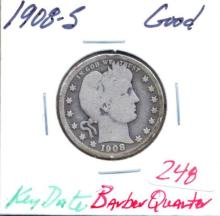 1908-S Barber Quarter Key Date  Grade:  Good