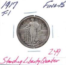 1917 Standing Liberty Quarter VAR I Grade:  Fine-15