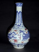 A Ming-Styled Blue-White Vase with Underglaze Red Phaenix-Floral Motifs and Mark of Ming Dynnasty Emperor Xuande