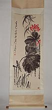 Red Lotus-Flowers with Ink-Painted Leaves Attributed to Qi Baishi (1864-1957)