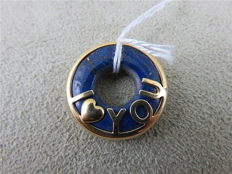 "Pendentif en or et lapis-lazuli ""I love you"". 3,8"