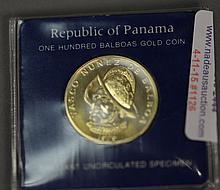 Republic of Panama 100 balboa gold coin, franklin mint.